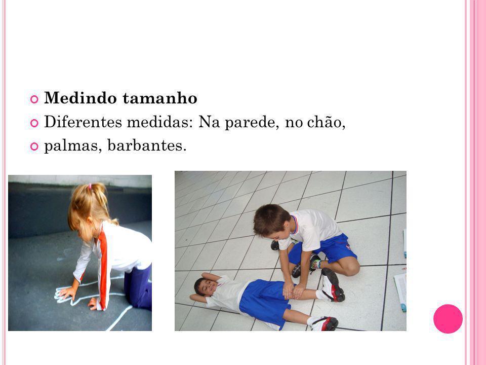 Medindo tamanho Diferentes medidas: Na parede, no chão, palmas, barbantes.