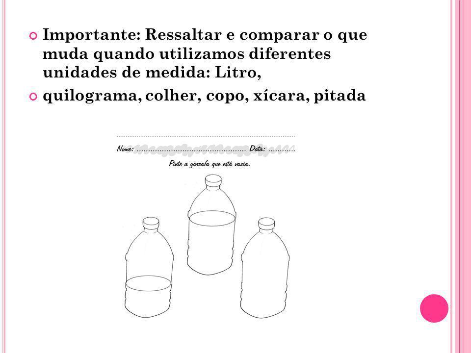 Importante: Ressaltar e comparar o que muda quando utilizamos diferentes unidades de medida: Litro, quilograma, colher, copo, xícara, pitada