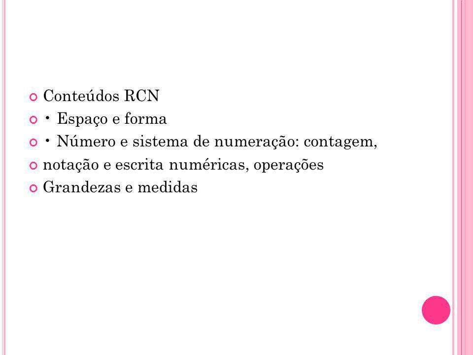 Conteúdos RCN Espaço e forma Número e sistema de numeração: contagem, notação e escrita numéricas, operações Grandezas e medidas