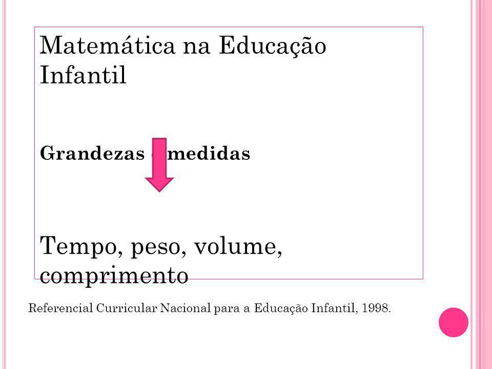 Matemática na Educação Infantil Grandezas e medidas Tempo, peso, volume, comprimento Referencial Curricular Nacional para a Educação Infantil, 1998.