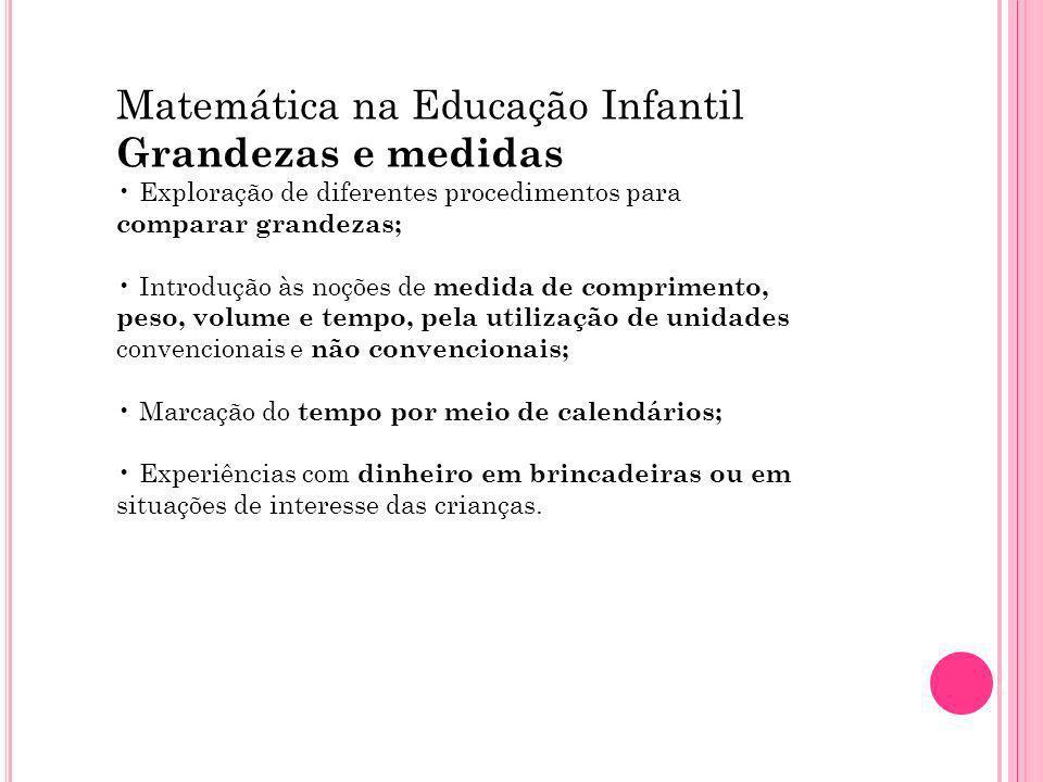 Matemática na Educação Infantil Grandezas e medidas Exploração de diferentes procedimentos para comparar grandezas; Introdução às noções de medida de