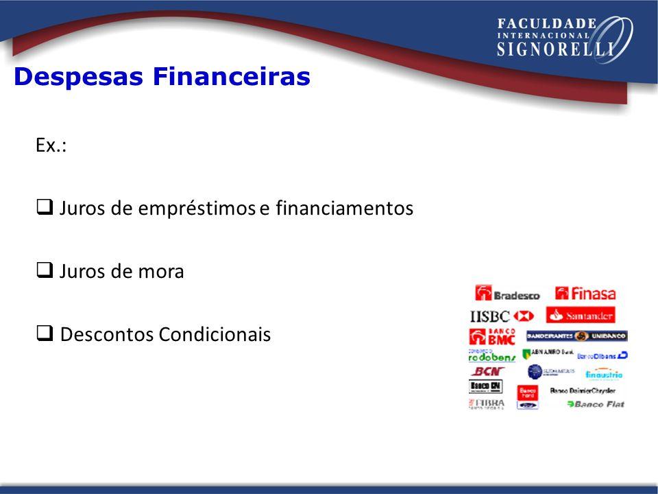 Despesas Financeiras Ex.: Juros de empréstimos e financiamentos Juros de mora Descontos Condicionais
