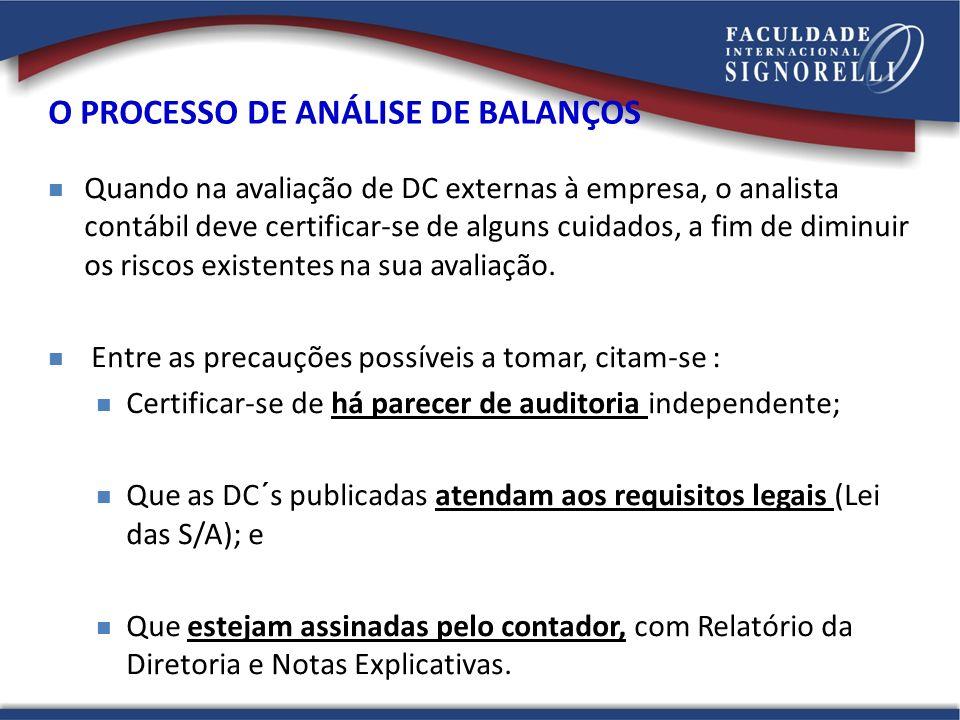 O PROCESSO DE ANÁLISE DE BALANÇOS Quando na avaliação de DC externas à empresa, o analista contábil deve certificar-se de alguns cuidados, a fim de di