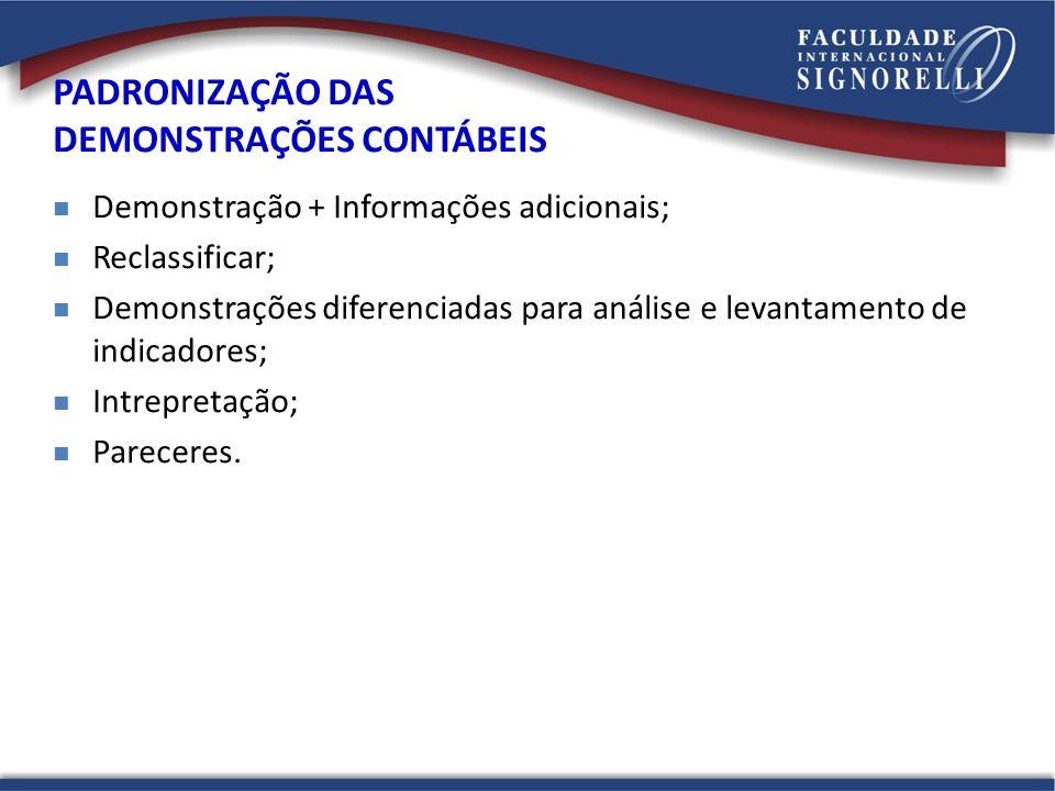 Demonstração + Informações adicionais; Reclassificar; Demonstrações diferenciadas para análise e levantamento de indicadores; Intrepretação; Pareceres