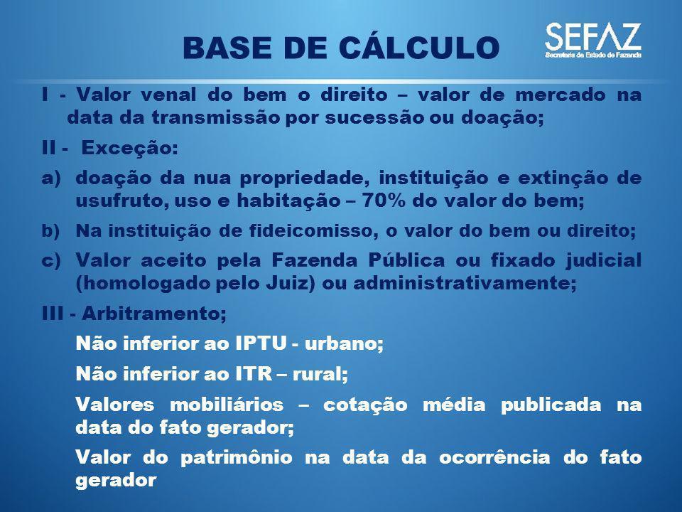 BASE DE CÁLCULO I - Valor venal do bem o direito – valor de mercado na data da transmissão por sucessão ou doação; II - Exceção: a)doação da nua propr