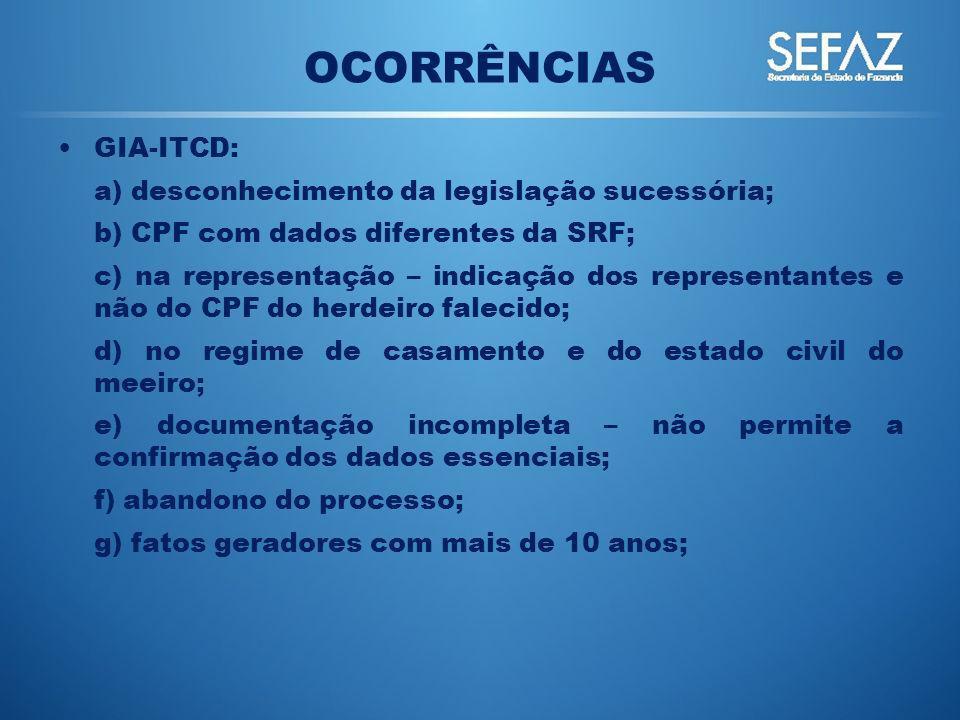 GIA-ITCD: a) desconhecimento da legislação sucessória; b) CPF com dados diferentes da SRF; c) na representação – indicação dos representantes e não do