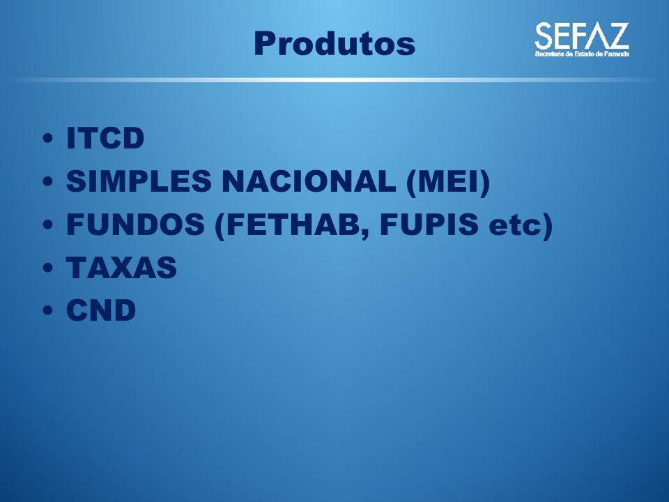 ITCD SIMPLES NACIONAL (MEI) FUNDOS (FETHAB, FUPIS etc) TAXAS CND Produtos