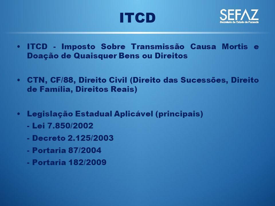 ITCD ITCD - Imposto Sobre Transmissão Causa Mortis e Doação de Quaisquer Bens ou Direitos CTN, CF/88, Direito Civil (Direito das Sucessões, Direito de