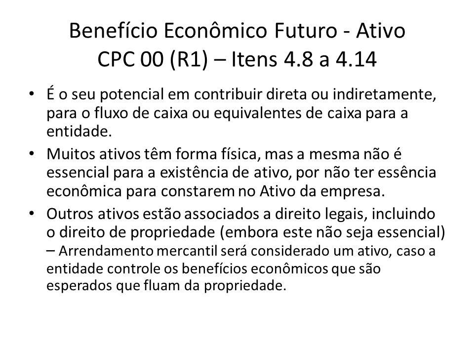 Benefício Econômico Futuro - Ativo CPC 00 (R1) – Itens 4.8 a 4.14 É o seu potencial em contribuir direta ou indiretamente, para o fluxo de caixa ou eq