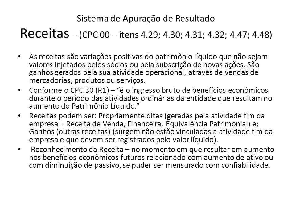Sistema de Apuração de Resultado Receitas – (CPC 00 – itens 4.29; 4.30; 4.31; 4.32; 4.47; 4.48) As receitas são variações positivas do patrimônio líqu
