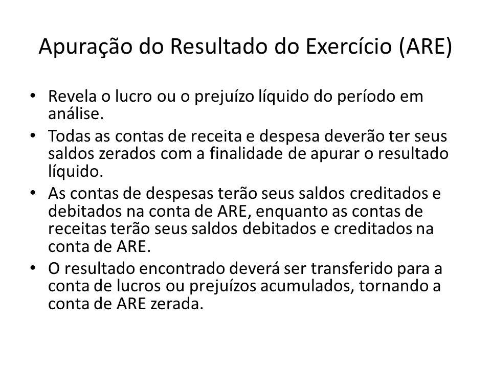 Apuração do Resultado do Exercício (ARE) Revela o lucro ou o prejuízo líquido do período em análise. Todas as contas de receita e despesa deverão ter