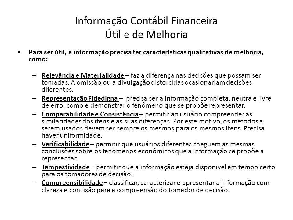 Informação Contábil Financeira Útil e de Melhoria Para ser útil, a informação precisa ter características qualitativas de melhoria, como: – Relevância