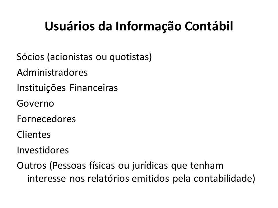 Usuários da Informação Contábil Sócios (acionistas ou quotistas) Administradores Instituições Financeiras Governo Fornecedores Clientes Investidores O
