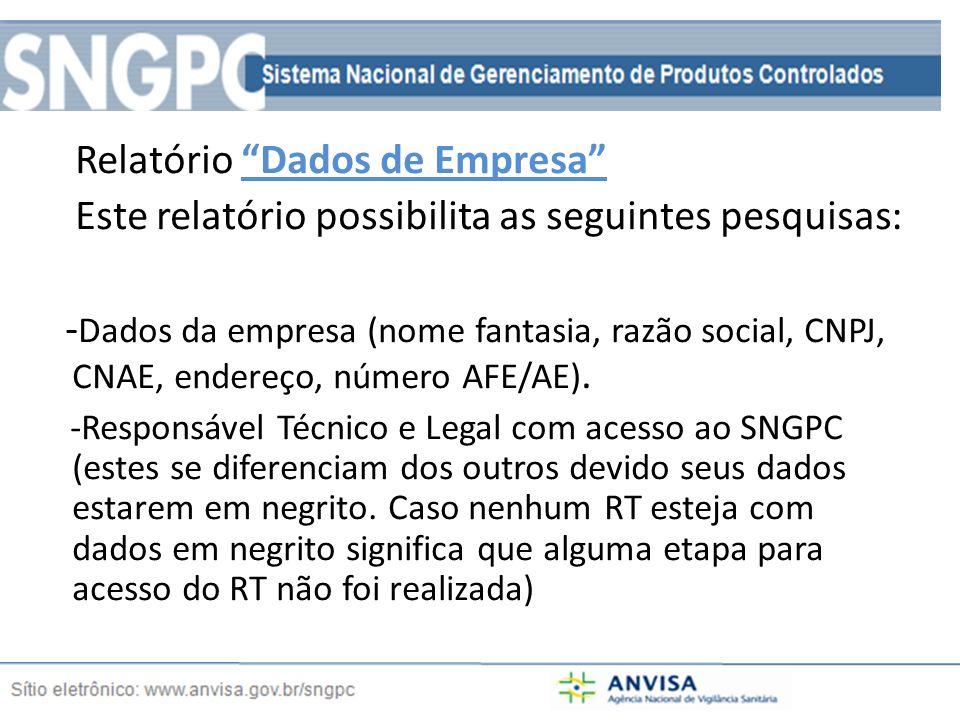 Relatório Dados de Empresa Este relatório possibilita as seguintes pesquisas: - Dados da empresa (nome fantasia, razão social, CNPJ, CNAE, endereço, número AFE/AE).