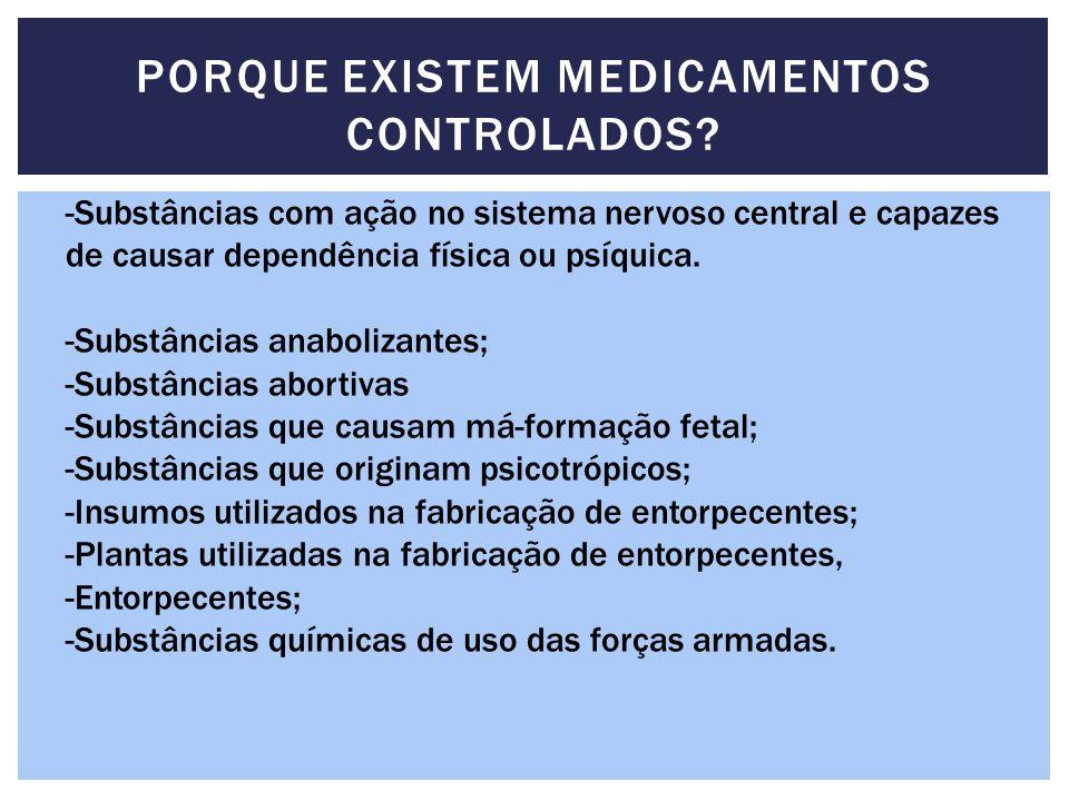 PORQUE EXISTEM MEDICAMENTOS CONTROLADOS? -Substâncias com ação no sistema nervoso central e capazes de causar dependência física ou psíquica. -Substân