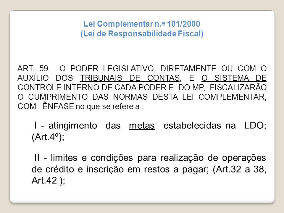 Lei Complementar n. º 101/2000 (Lei de Responsabilidade Fiscal) ART. 59. O PODER LEGISLATIVO, DIRETAMENTE OU COM O AUXÍLIO DOS TRIBUNAIS DE CONTAS, E