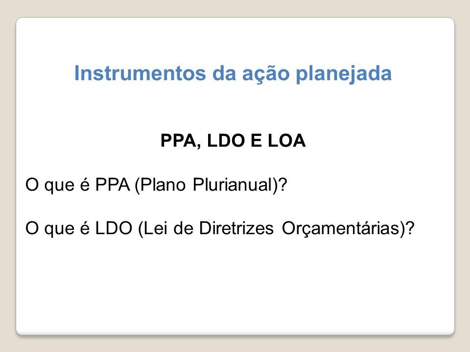 Instrumentos da ação planejada PPA, LDO E LOA O que é PPA (Plano Plurianual)? O que é LDO (Lei de Diretrizes Orçamentárias)?