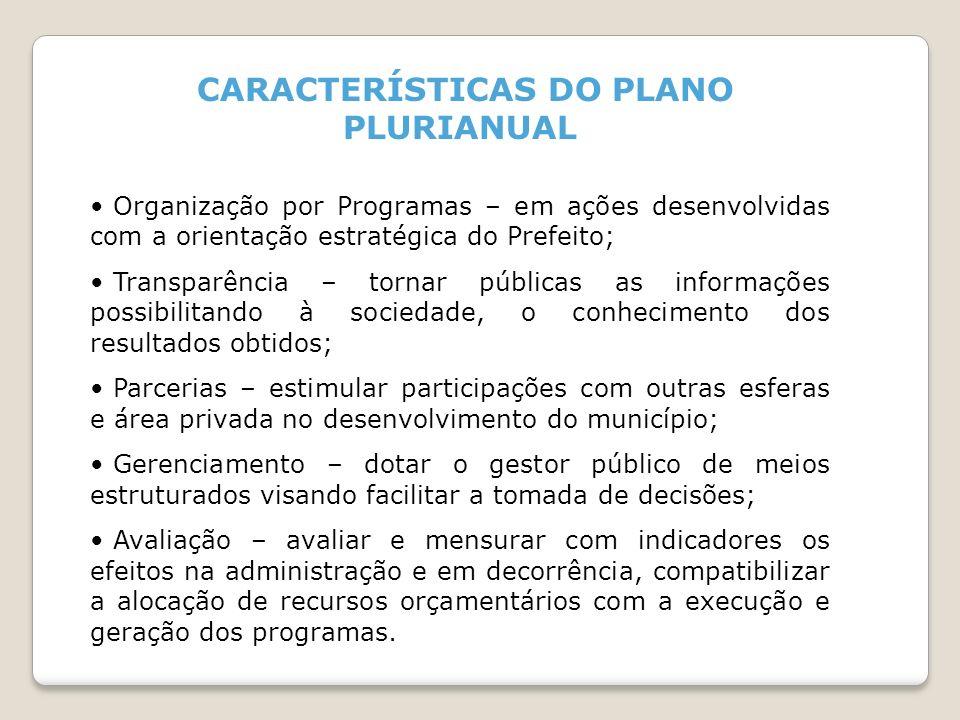 CARACTERÍSTICAS DO PLANO PLURIANUAL Organização por Programas – em ações desenvolvidas com a orientação estratégica do Prefeito; Transparência – torna