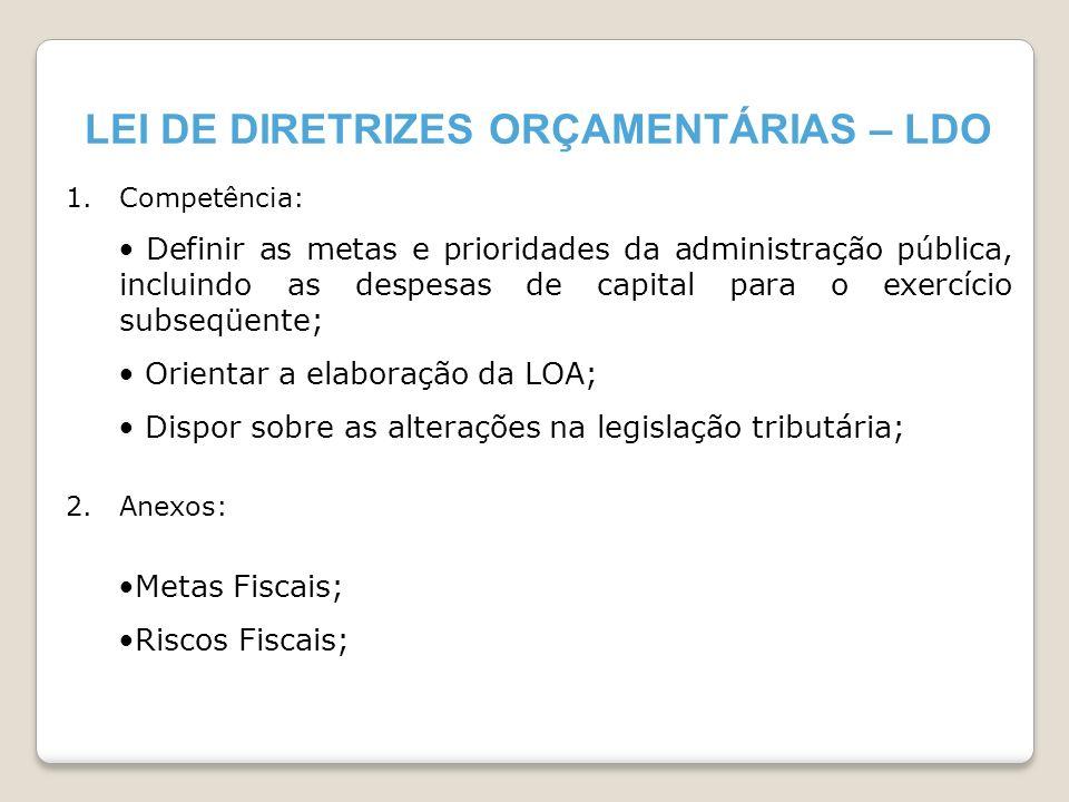 LEI DE DIRETRIZES ORÇAMENTÁRIAS – LDO 1.Competência: Definir as metas e prioridades da administração pública, incluindo as despesas de capital para o