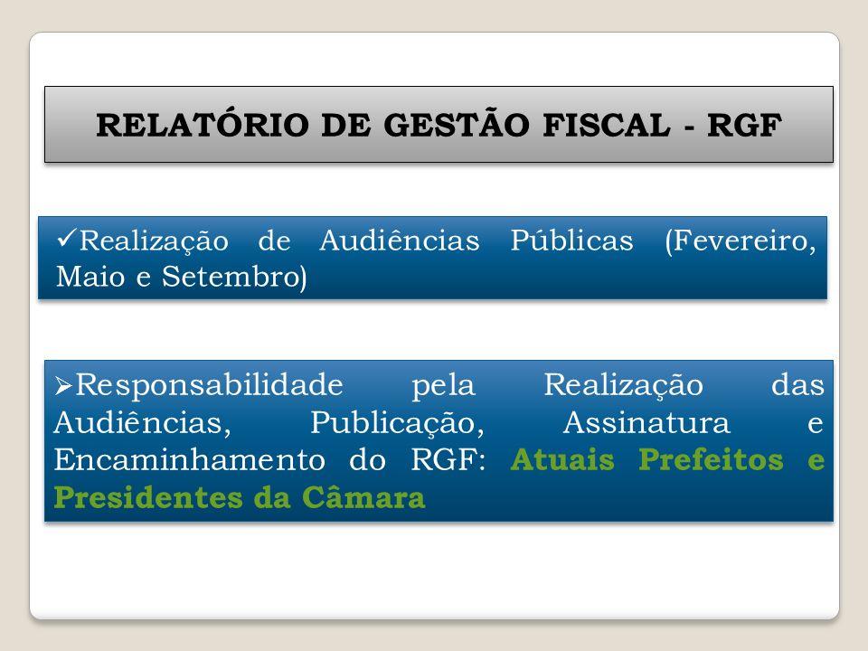 RELATÓRIO DE GESTÃO FISCAL - RGF Responsabilidade pela Realização das Audiências, Publicação, Assinatura e Encaminhamento do RGF: Atuais Prefeitos e P