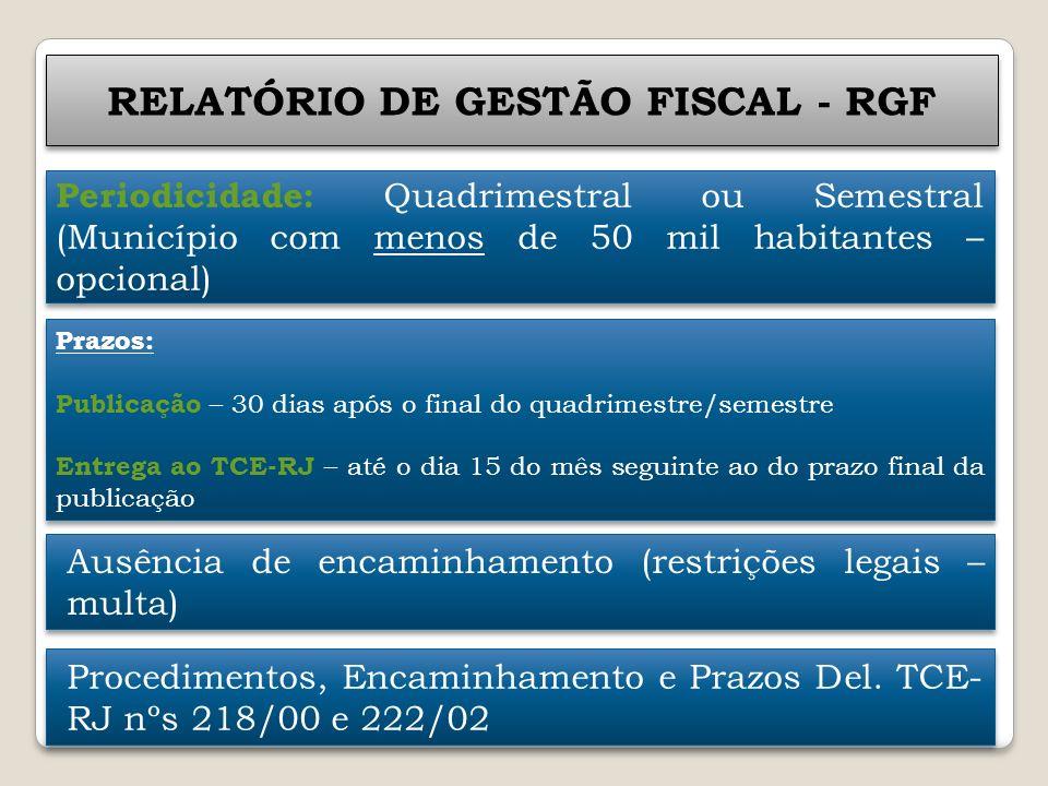 RELATÓRIO DE GESTÃO FISCAL - RGF Periodicidade: Quadrimestral ou Semestral (Município com menos de 50 mil habitantes – opcional) Prazos: Publicação –