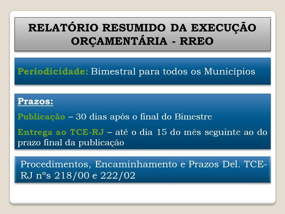 RELATÓRIO RESUMIDO DA EXECUÇÃO ORÇAMENTÁRIA - RREO Periodicidade: Bimestral para todos os Municípios Prazos: Publicação – 30 dias após o final do Bime
