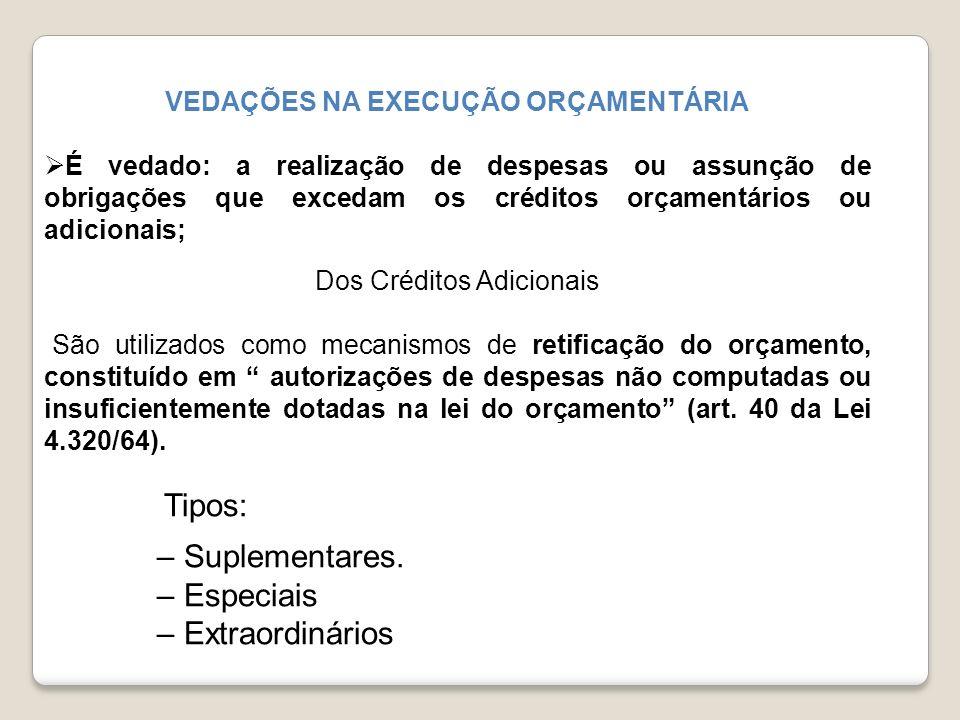 VEDAÇÕES NA EXECUÇÃO ORÇAMENTÁRIA É vedado: a realização de despesas ou assunção de obrigações que excedam os créditos orçamentários ou adicionais; Do