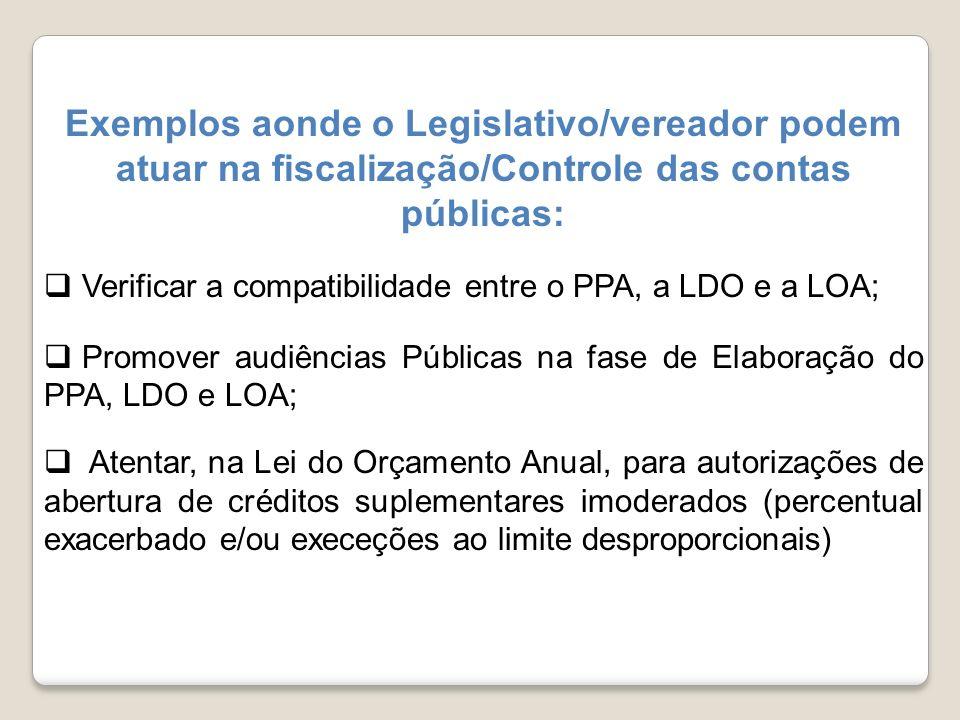 Exemplos aonde o Legislativo/vereador podem atuar na fiscalização/Controle das contas públicas: Verificar a compatibilidade entre o PPA, a LDO e a LOA