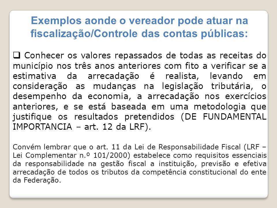 Exemplos aonde o vereador pode atuar na fiscalização/Controle das contas públicas: Conhecer os valores repassados de todas as receitas do município no