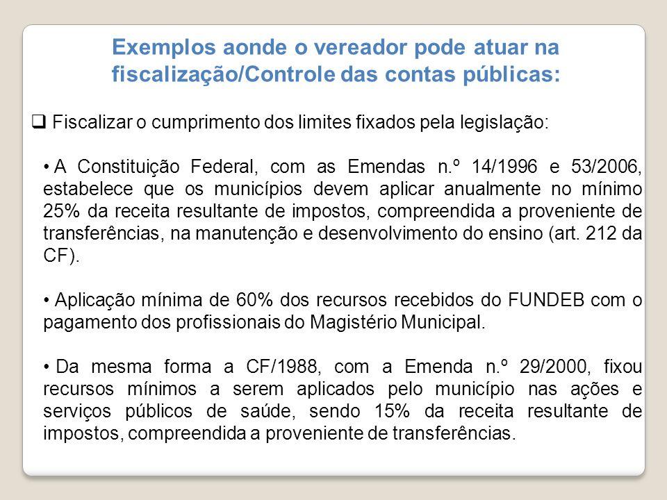 Exemplos aonde o vereador pode atuar na fiscalização/Controle das contas públicas: Fiscalizar o cumprimento dos limites fixados pela legislação: A Con