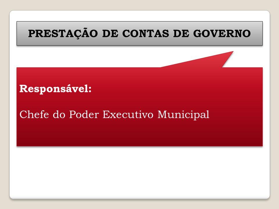 PRESTAÇÃO DE CONTAS DE GOVERNO Responsável: Chefe do Poder Executivo Municipal Responsável: Chefe do Poder Executivo Municipal