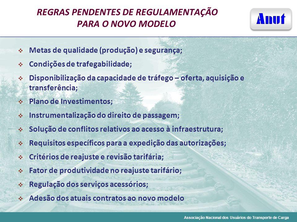 Associação Nacional dos Usuários do Transporte de Carga REGRAS PENDENTES DE REGULAMENTAÇÃO PARA O NOVO MODELO Metas de qualidade (produção) e seguranç