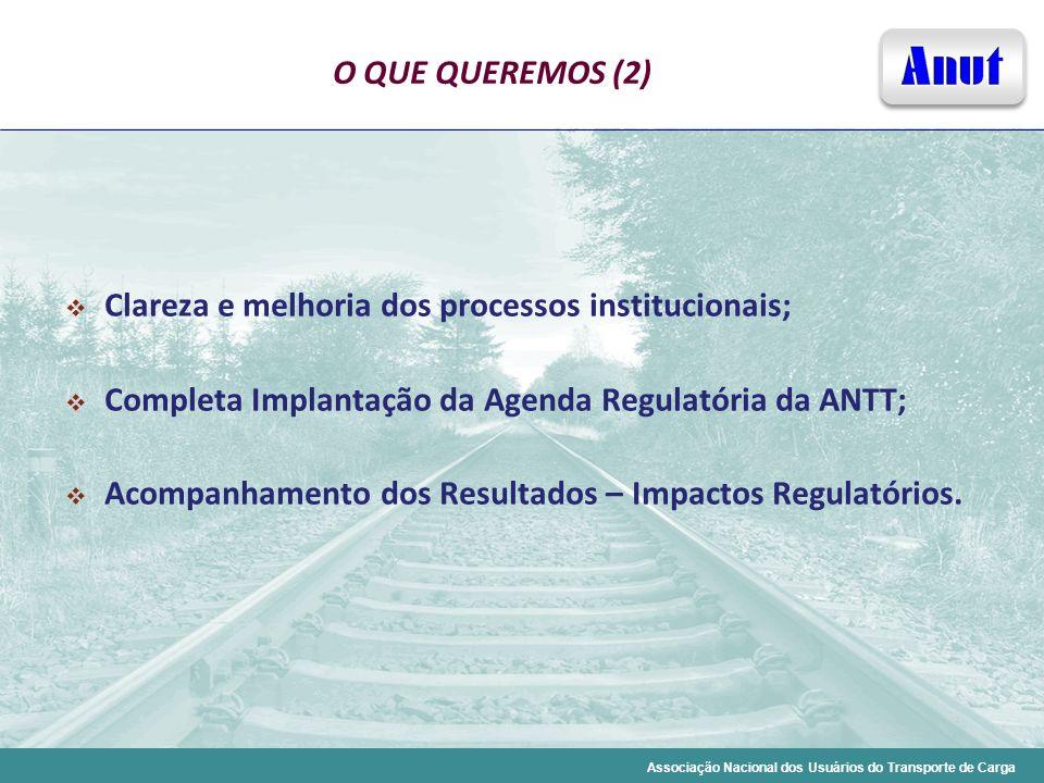 Associação Nacional dos Usuários do Transporte de Carga O QUE QUEREMOS (2) Clareza e melhoria dos processos institucionais; Completa Implantação da Ag