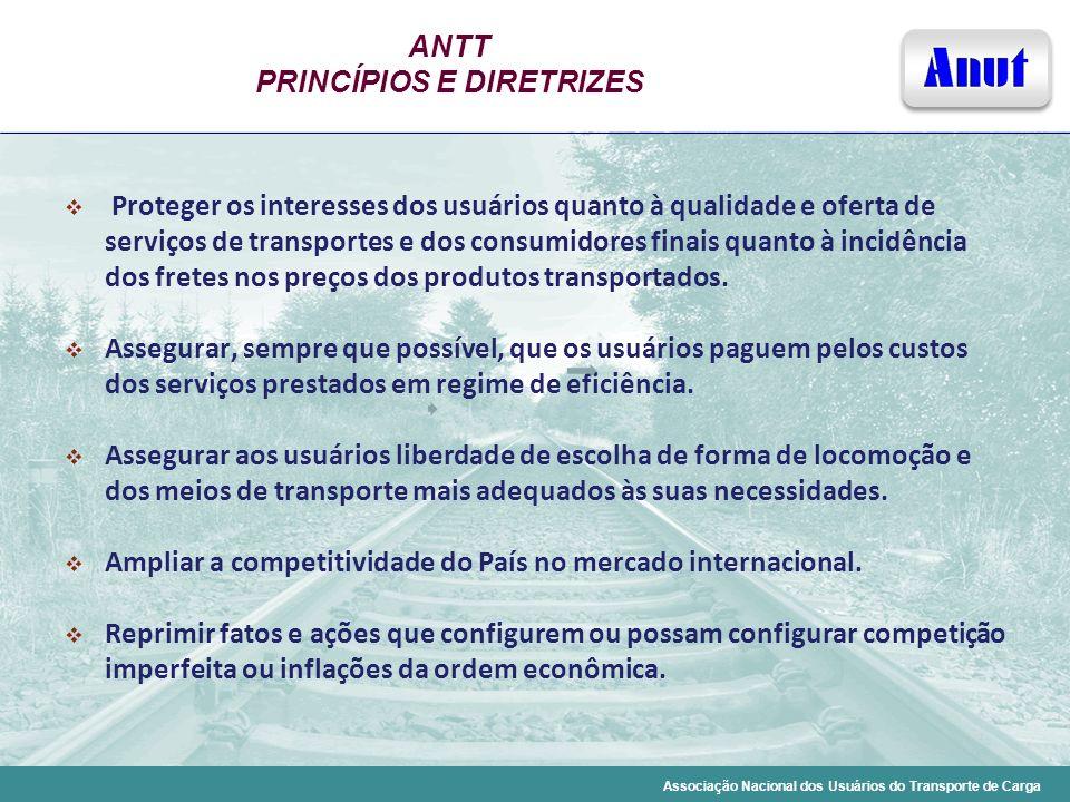 Associação Nacional dos Usuários do Transporte de Carga ANTT PRINCÍPIOS E DIRETRIZES Proteger os interesses dos usuários quanto à qualidade e oferta d