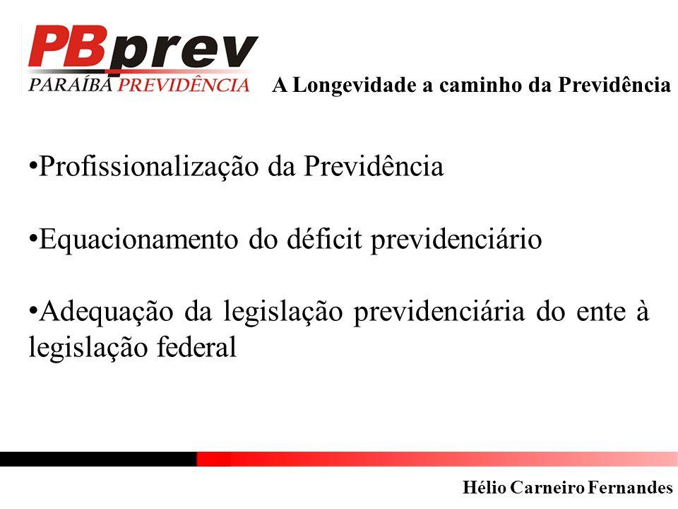A Longevidade a caminho da Previdência Profissionalização da Previdência Equacionamento do déficit previdenciário Adequação da legislação previdenciár