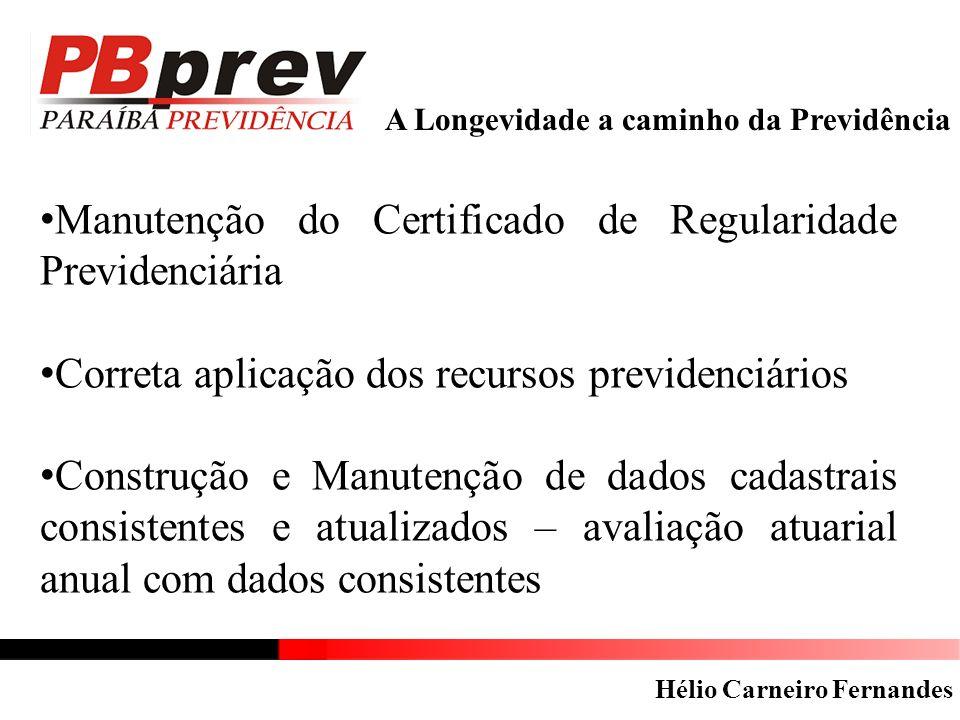 A Longevidade a caminho da Previdência Manutenção do Certificado de Regularidade Previdenciária Correta aplicação dos recursos previdenciários Constru