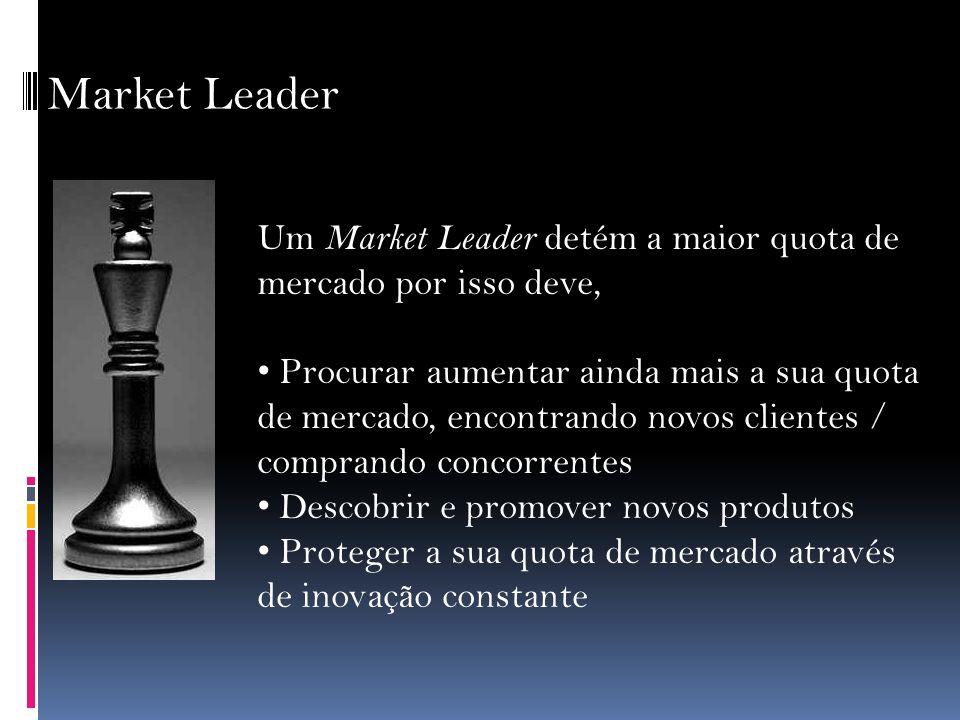 Market Leader Um Market Leader detém a maior quota de mercado por isso deve, Procurar aumentar ainda mais a sua quota de mercado, encontrando novos cl