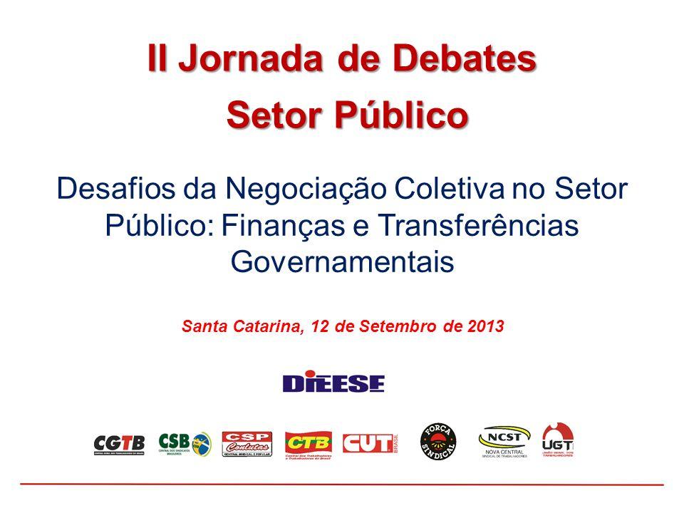 Desafios da Negociação Coletiva no Setor Público: Finanças e Transferências Governamentais Santa Catarina, 12 de Setembro de 2013 II Jornada de Debate
