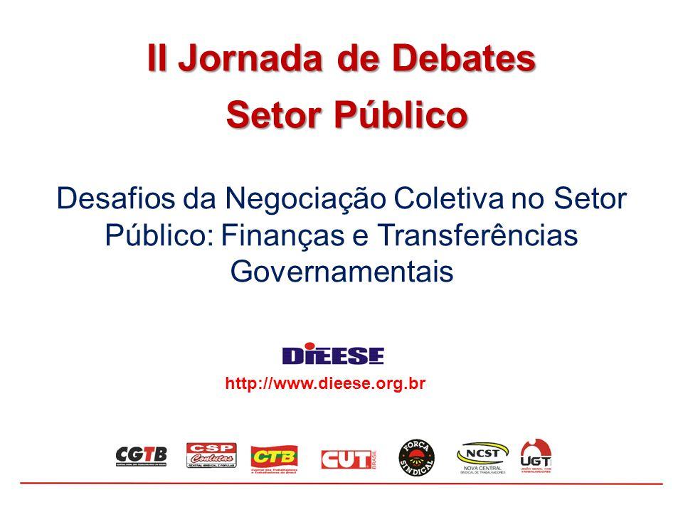 Desafios da Negociação Coletiva no Setor Público: Finanças e Transferências Governamentais II Jornada de Debates Setor Público Setor Público http://ww