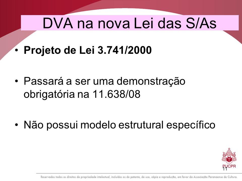 11 DVA na nova Lei das S/As Projeto de Lei 3.741/2000 Passará a ser uma demonstração obrigatória na 11.638/08 Não possui modelo estrutural específico