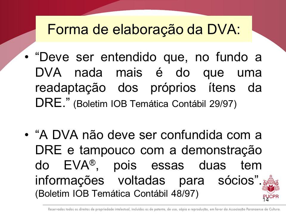 14 Forma de elaboração da DVA: Deve ser entendido que, no fundo a DVA nada mais é do que uma readaptação dos próprios ítens da DRE. (Boletim IOB Temát
