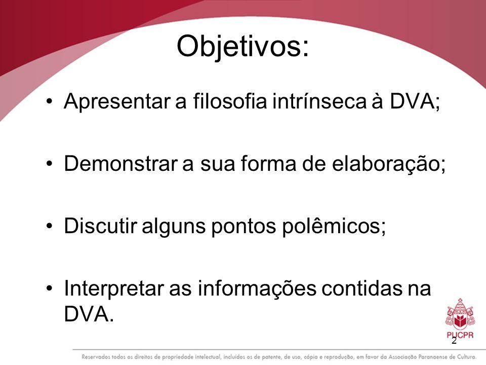 2 Objetivos: Apresentar a filosofia intrínseca à DVA; Demonstrar a sua forma de elaboração; Discutir alguns pontos polêmicos; Interpretar as informaçõ