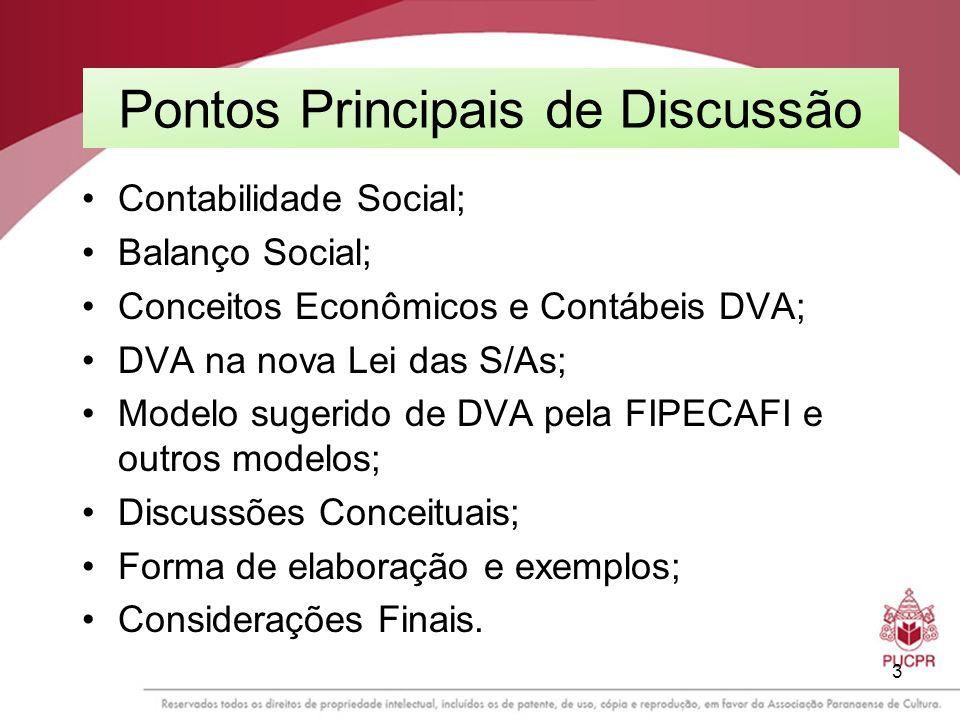 3 Pontos Principais de Discussão Contabilidade Social; Balanço Social; Conceitos Econômicos e Contábeis DVA; DVA na nova Lei das S/As; Modelo sugerido