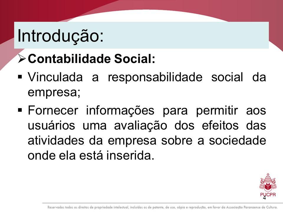 4 Introdução: Contabilidade Social: Vinculada a responsabilidade social da empresa; Fornecer informações para permitir aos usuários uma avaliação dos