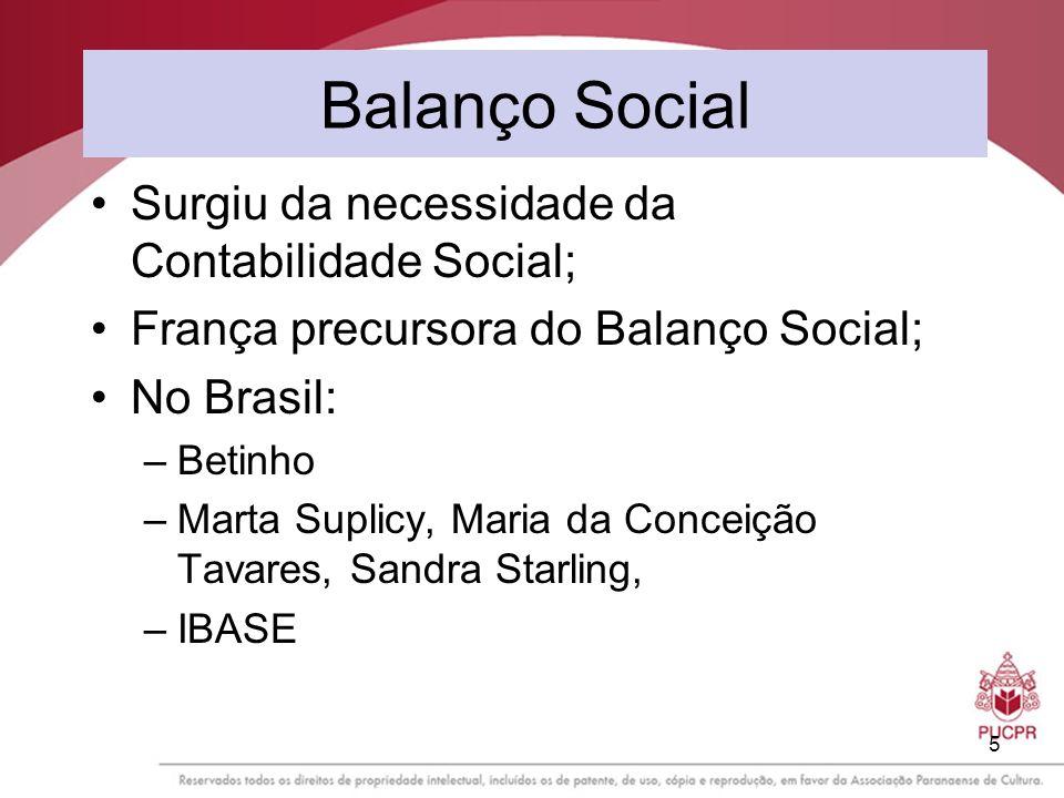 5 Balanço Social Surgiu da necessidade da Contabilidade Social; França precursora do Balanço Social; No Brasil: –Betinho –Marta Suplicy, Maria da Conc