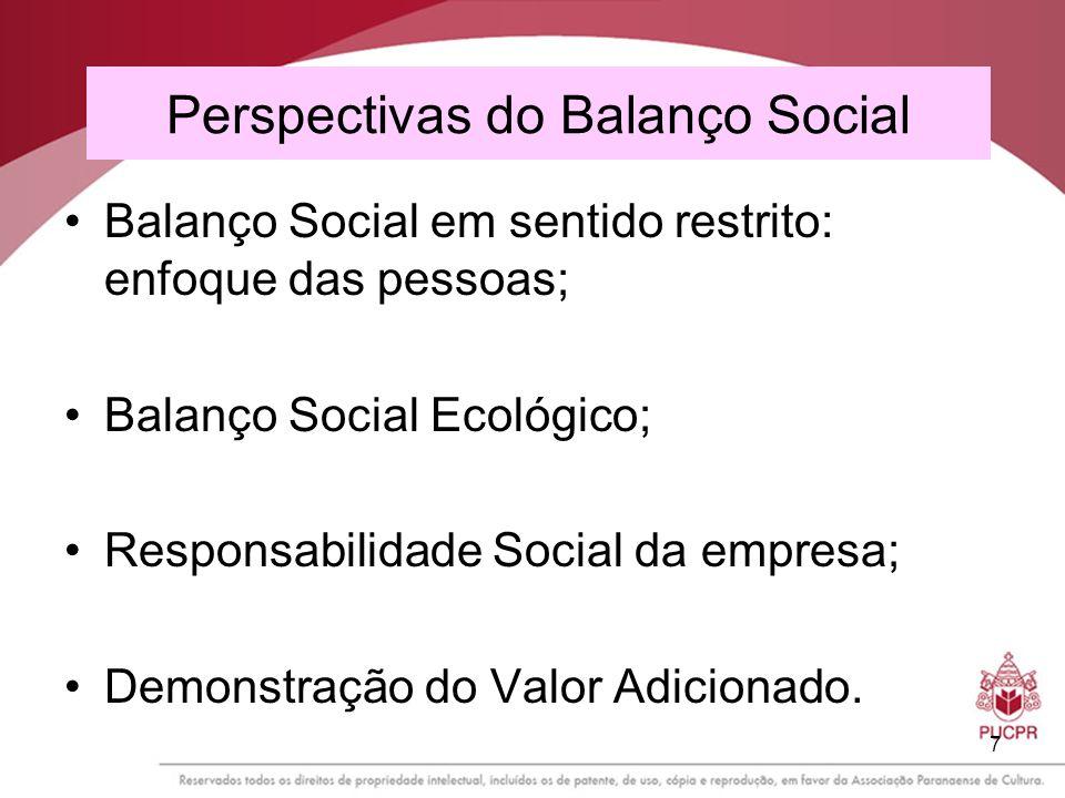 7 Perspectivas do Balanço Social Balanço Social em sentido restrito: enfoque das pessoas; Balanço Social Ecológico; Responsabilidade Social da empresa
