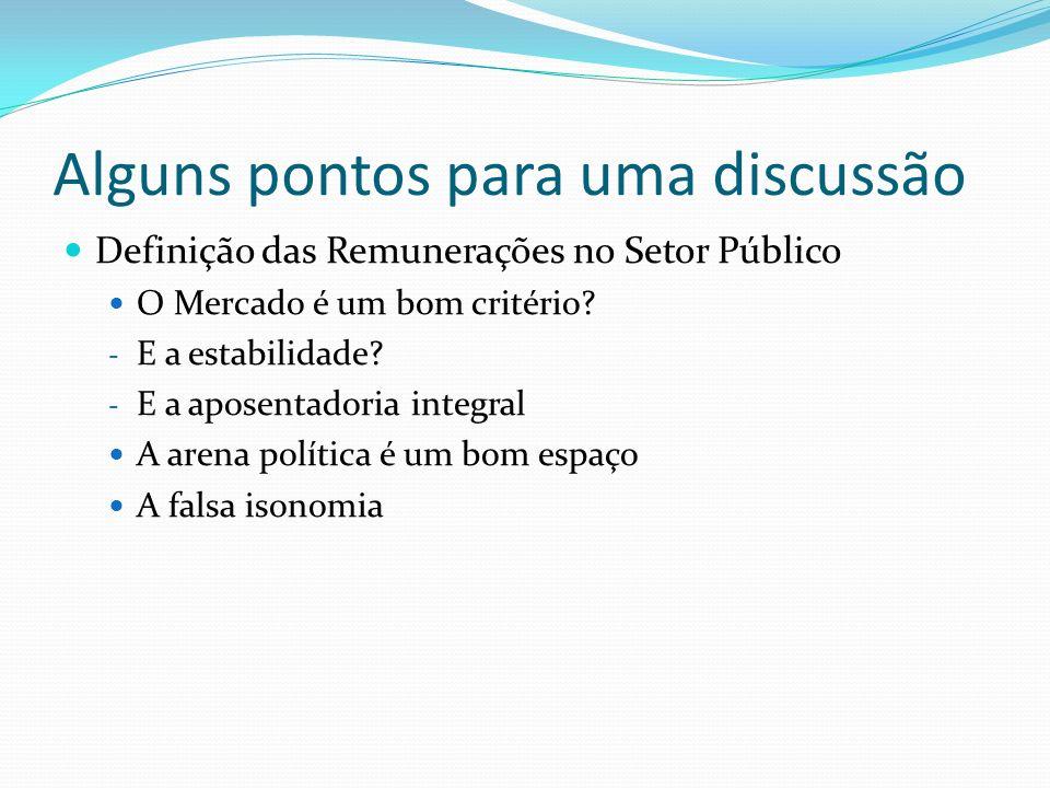 Alguns pontos para uma discussão Definição das Remunerações no Setor Público O Mercado é um bom critério.