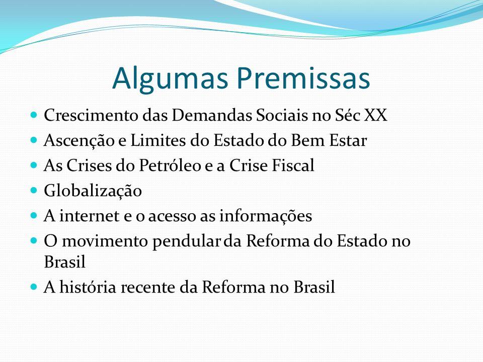 Algumas Premissas Crescimento das Demandas Sociais no Séc XX Ascenção e Limites do Estado do Bem Estar As Crises do Petróleo e a Crise Fiscal Globalização A internet e o acesso as informações O movimento pendular da Reforma do Estado no Brasil A história recente da Reforma no Brasil