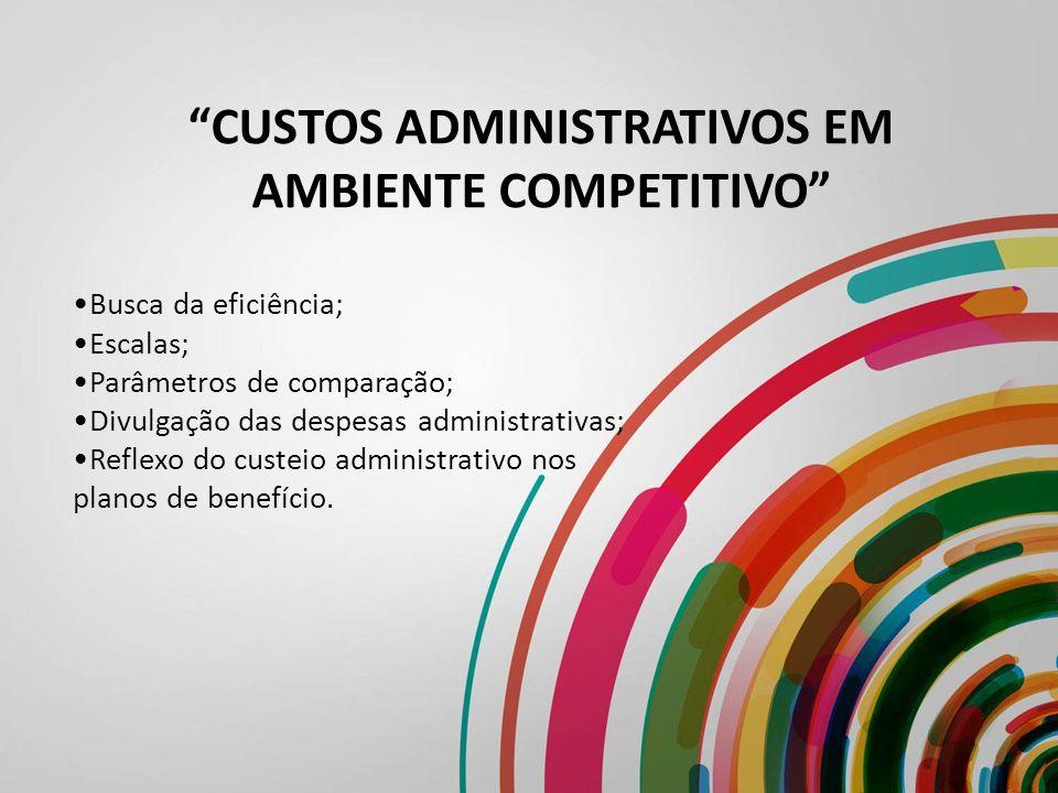 CUSTOS ADMINISTRATIVOS EM AMBIENTE COMPETITIVO Busca da eficiência; Escalas; Parâmetros de comparação; Divulgação das despesas administrativas; Reflex