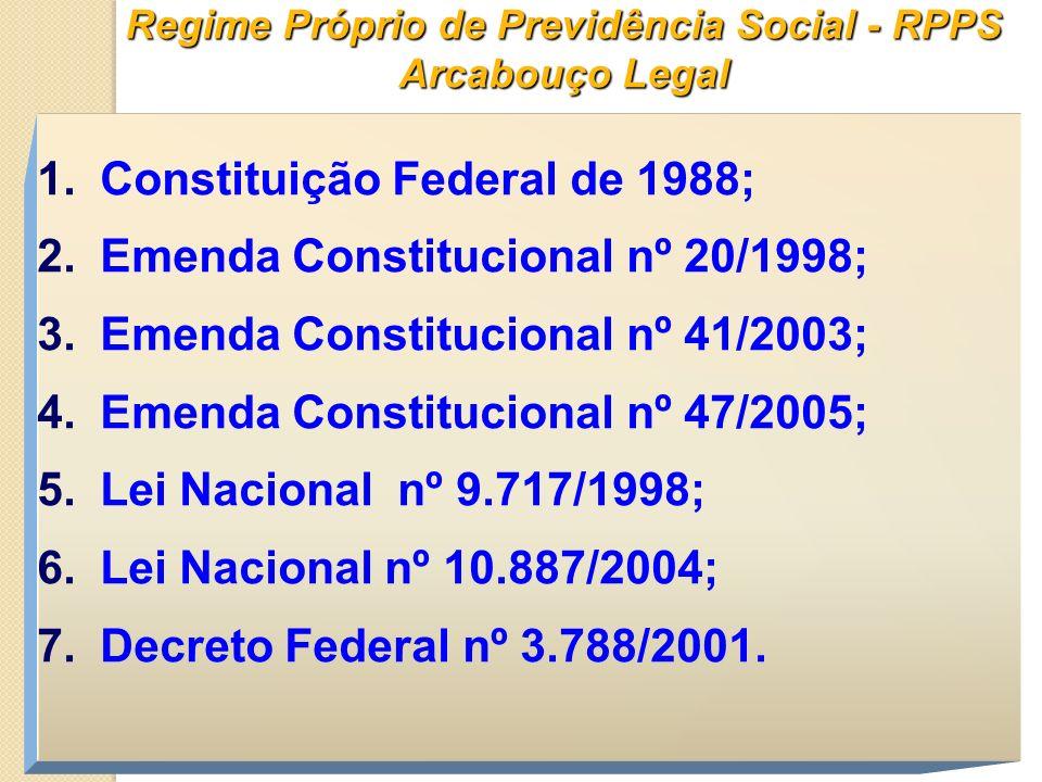 Regime Próprio de Previdência Social - RPPS Arcabouço Legal 1. Constituição Federal de 1988; 2. Emenda Constitucional nº 20/1998; 3. Emenda Constituci